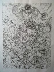 Into Battle -  Slaine Tryout Page 1 Pencils by AdeHughesArt