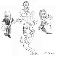 Pink Floyd caricatured by Muti-Valchev