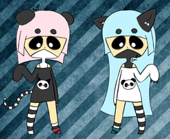 Pandacat Twin Girls [CLOSED] by RideAlongWithMe