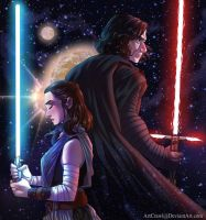 Rey and Kylo by ArtCrawl