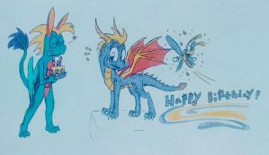 The Long Awaited Birthday Gift for spyrothedragon6 by DragonDrawer102