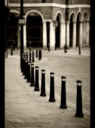Pillars, Curves, Cobbles BnW by GMCPhotographics