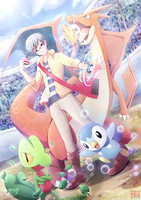 Trainer NEO, Treecko, Piplup, and Mega Charizard Y