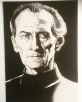 Grand Moff Tarking, ink drawing.  by mrmarkchilcott