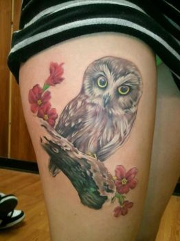 Baby Owl Tattoo by shinigami-sama