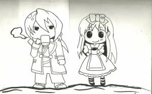 In my drawing notebook:alice and julius by xanimedrawerx