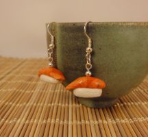 Salmon sushi earrings by Koreena