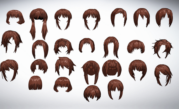 MMD Front hair pack 01 25-50+ by amiamy111