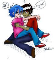 Murdoc and 2D OLD by joeywaii