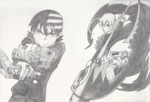 Death the Kid with Maka and Soul by SaltyFruitato