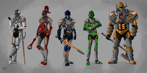 The Nexo Knights with helmets by joshuad17