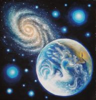 Earth and a galaxy by CORinAZONe