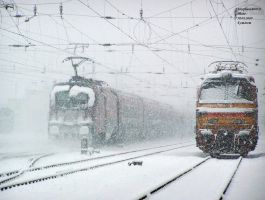 Railjet in Koma'rom in snow by morpheus880223