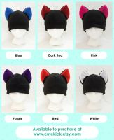 Cat Hat in Black Bright Neon Rave Colors by cutekick