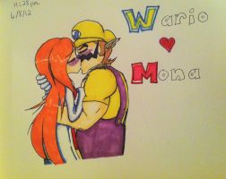 SSBB Couple: WarioXMona by NoxidamXV