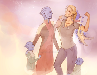 the t'soni-shepard family by magicalzebra