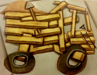 Abstract Construction Dump Truck Painting by TOMMERVIK