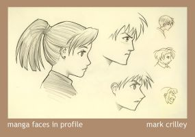 Manga Faces in Profile by markcrilley