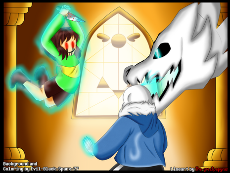 Undertale Collab: Chara Vs Sans by Evil-Black-Sparx-77