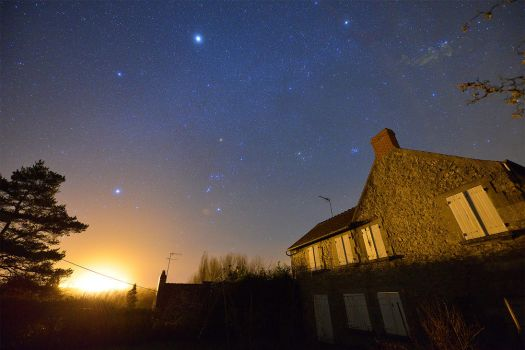 Starry Winter Sky in Normandy, France by Jean-Baptiste-Faure