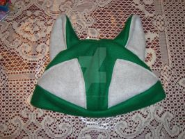 Handmade Wolf Fleece Hat - Green, Gray by Dark-and-One-Other