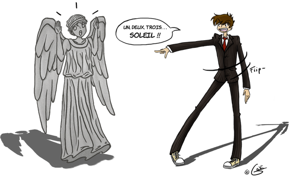 The Doctor VS A Weeping Angel by Gakii