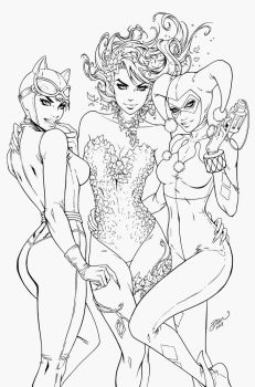 Poison Ivy, HarleyQuinn, Catwoman - Dawn McTeigue by Pendecon