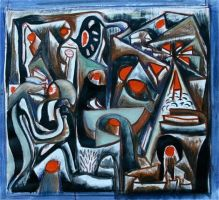 abstraction-blue red and black by hamishgordon