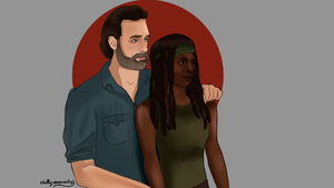 Rick and Michonne by chillyravenart