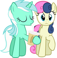 Lyra drinking with Bon-bon Vector by ArtPwny
