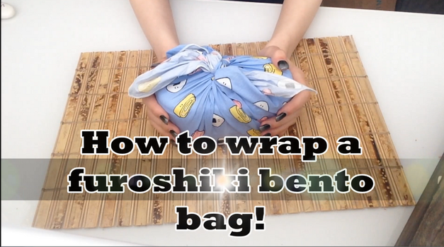 HOW TO TIE A FUROSHIKI BENTO BAG WITH HANDLES! by Hack-Girl
