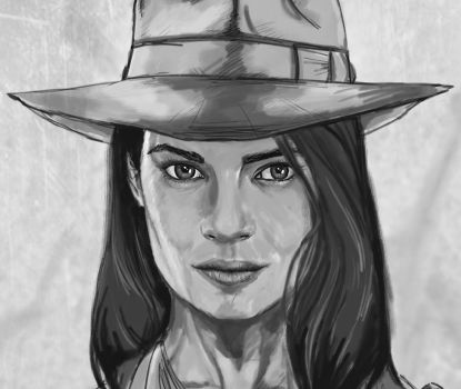 Indiana Jones BW Close up (update) by RedGeOrb