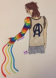 Bucky's Rainbow Arm by scifiroots