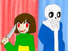 Art Trade: Chara and Sans - Undertale by academian