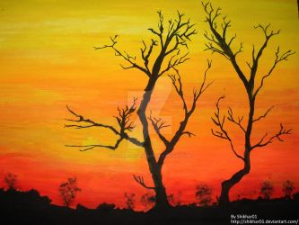 Sunset Water Colour Painting by ShikharSrivastava