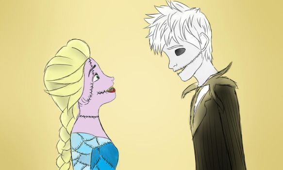 Jack and Elsa as Jack and Sally by jackandelsa1