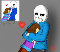 Hugs- Sans and Frisk by Ice6400