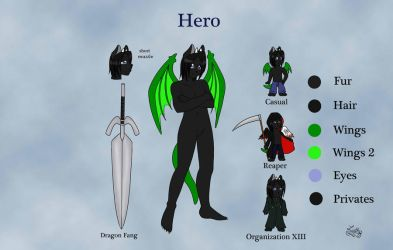 Hero reference sheet by HeroDragonKingofZeta