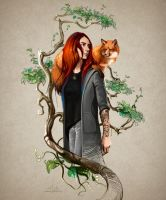 The Girl and the Fox by SalamanDra-S