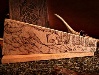 Wolf Woodburning (fairy-tale style) by VoceDelBosco