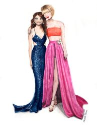 Taylor and Selena at the Grammy's 2016 by ArtbyCharlotte