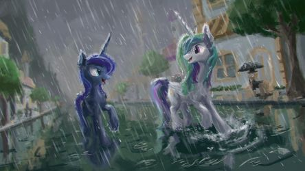 Running in the rain by Plainoasis
