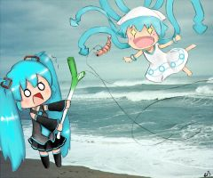 Miku and Squid Girl by raylee-arts