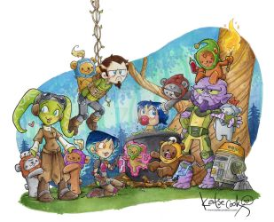 Rebels vs. Ewoks by katiecandraw