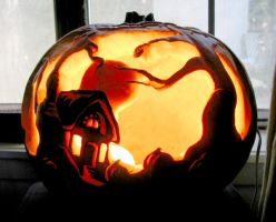 Forest Cottage Pumpkin by MasterpieceLost