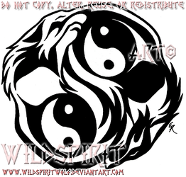 Dual Yin-Yang Wolves Tattoo by WildSpiritWolf