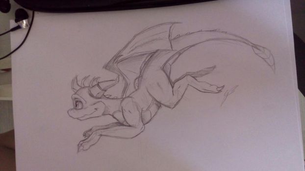 Sketch Spyro - Jump by GirlScoutDragon