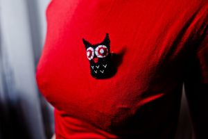 Black owl pin by unnoticeable-me