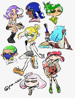 Doodles (squids, kids, octos) by PandaHero-Peke