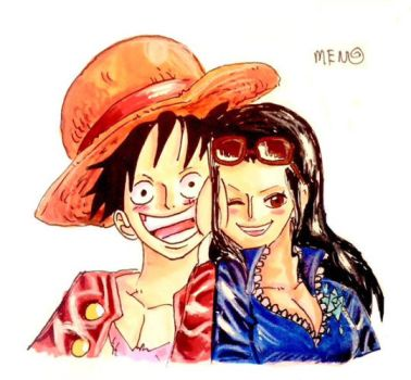 Luffy And Robin In Color by MENOKONOMI